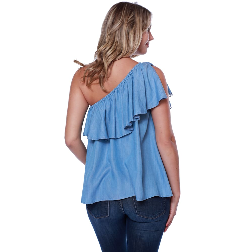 TAYLOR & SAGE Juniors' One Shoulder Ruffle Front Chambray Tank - MCH-MED CHAMBRAY