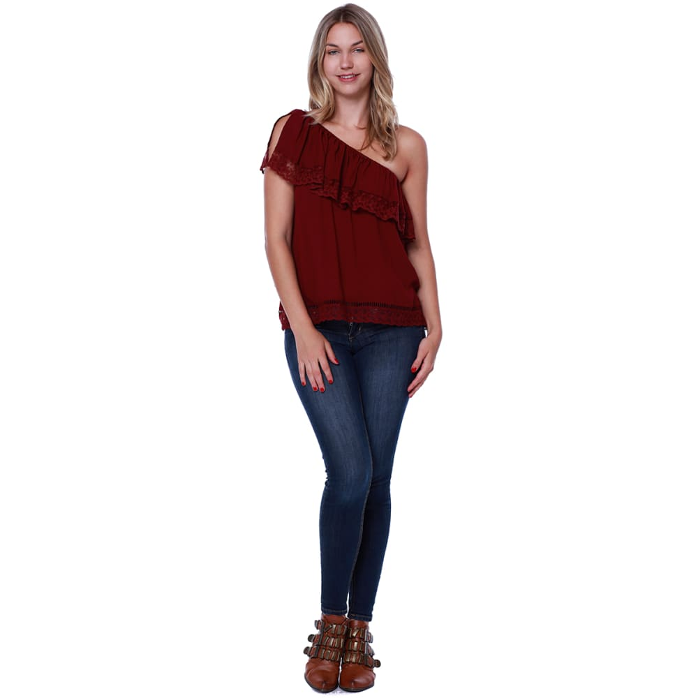 TAYLOR & SAGE Juniors' One Shoulder Ruffle Front Lace Trim Top - TBG-TOBACCO ROUGE
