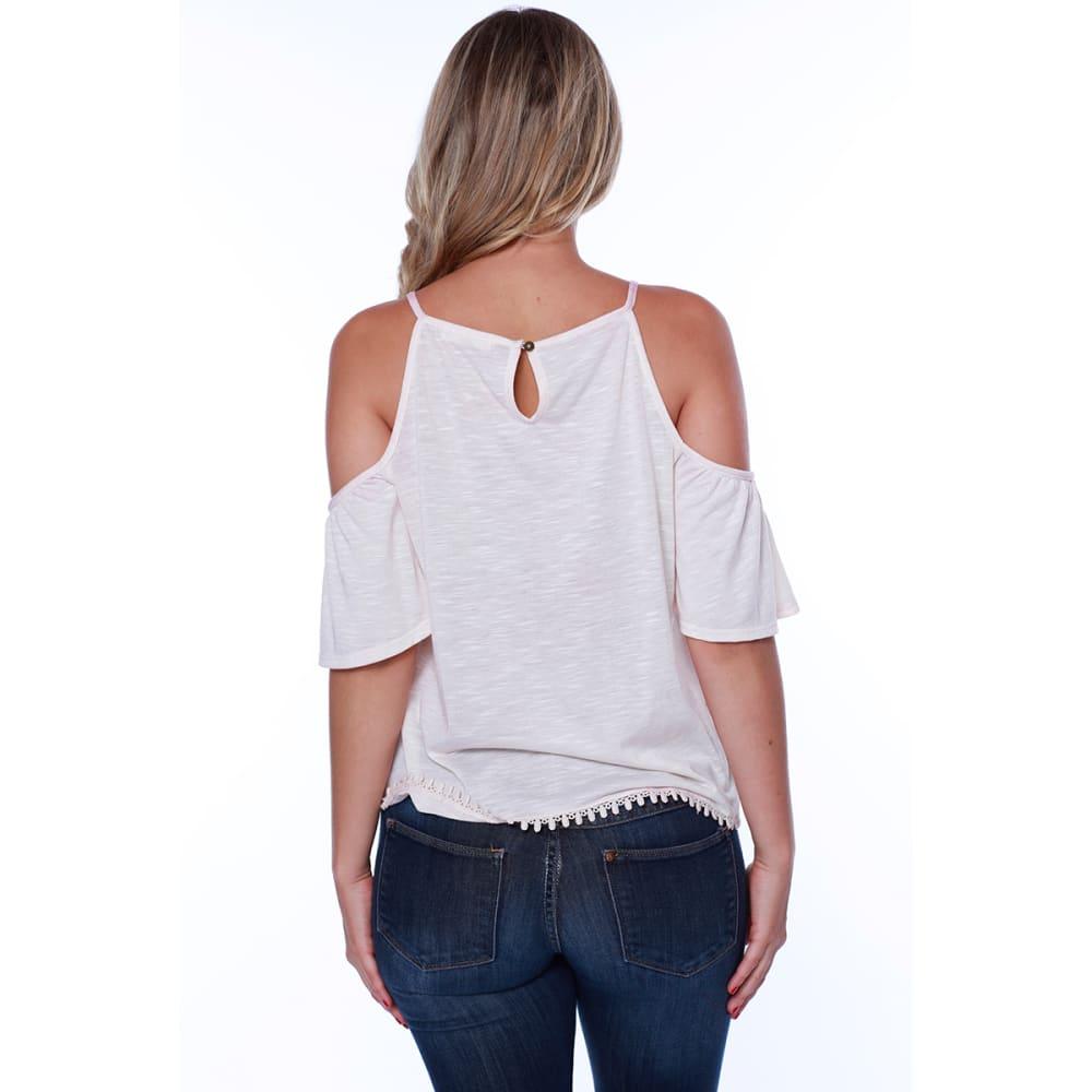 TAYLOR & SAGE Juniors' Cold Shoulder Hi-Neck Lace Front Top - WHC-WHITE CLIFFS