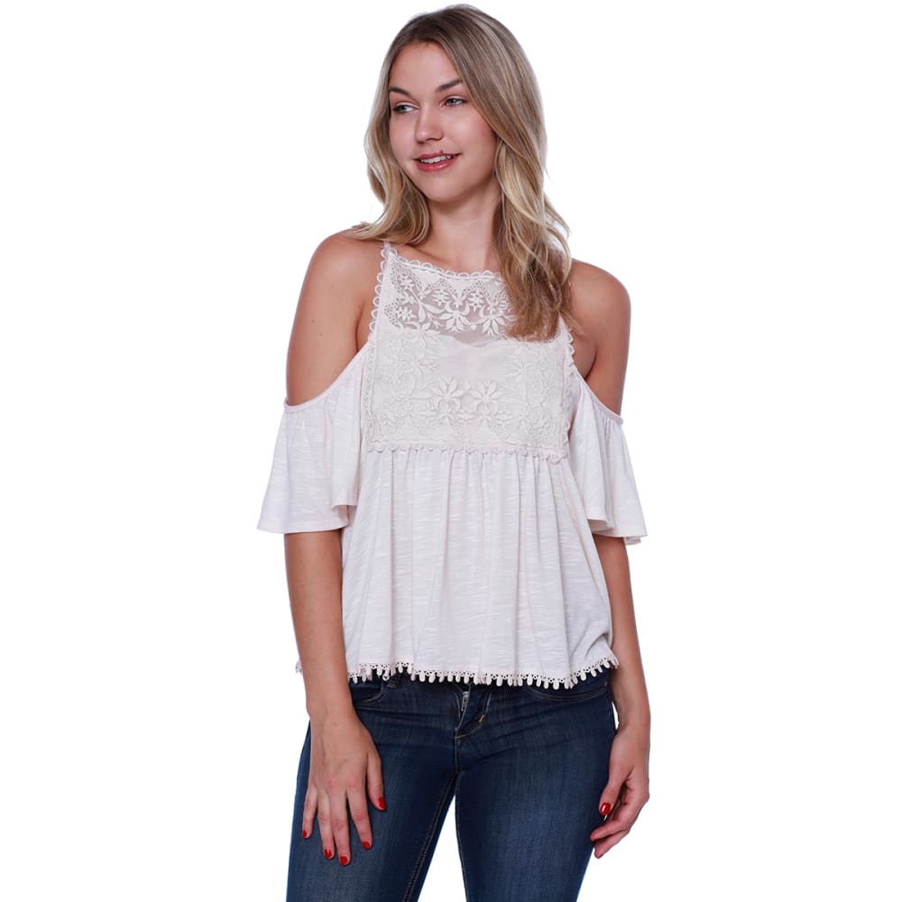 TAYLOR & SAGE Juniors' Cold Shoulder Hi-Neck Lace Front Top - WHC-WHITE CLIFFS
