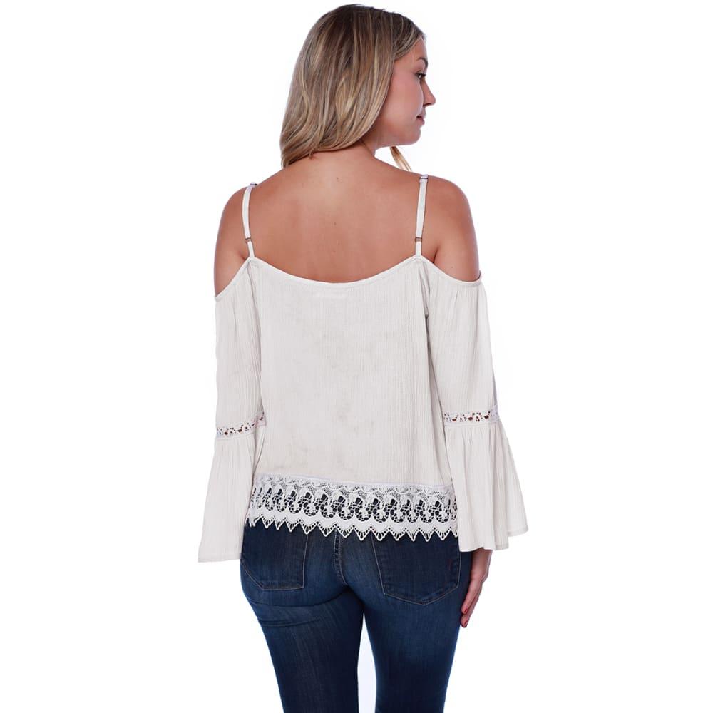 TAYLOR & SAGE Cold Shoulder Crochet Inset Bell Sleeve Top - NAT-NATURAL