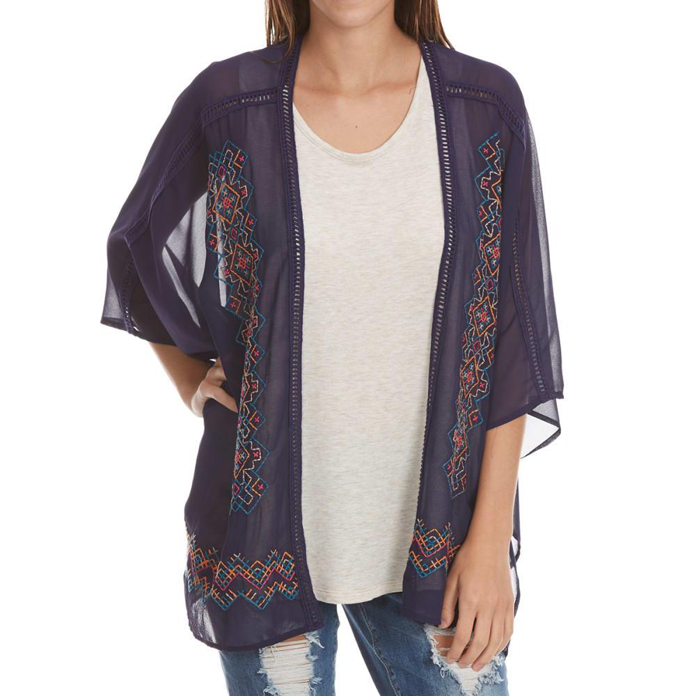 TAYLOR & SAGE Juniors' Embroidered Tassel Hem Kimono - TRB-TREASURE BLUE