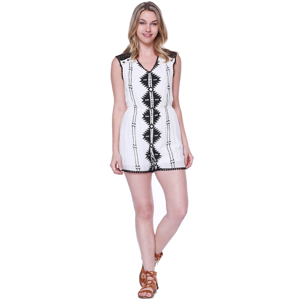 TAYLOR & SAGE Juniors' Diamond Print Crochet Shoulder Romper - NAT-NATURAL