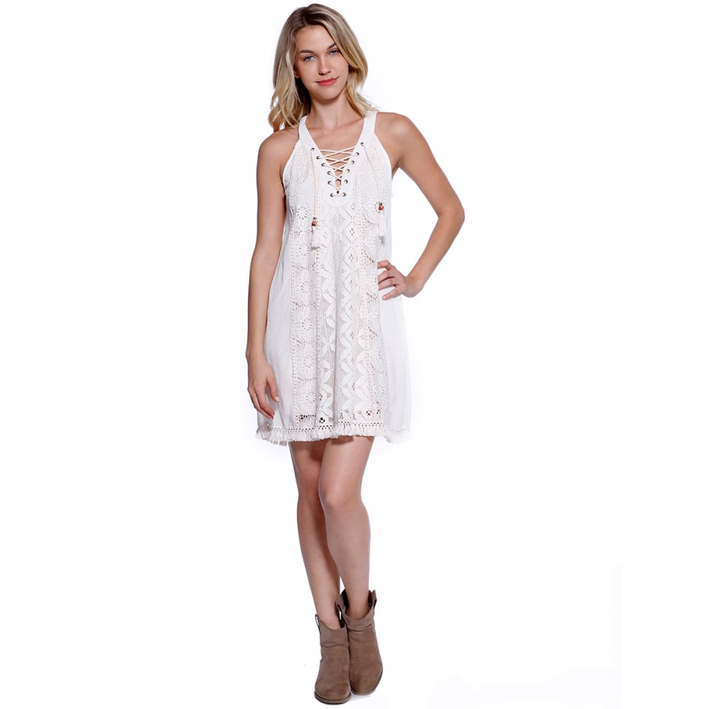 TAYLOR & SAGE Juniors' Tassel Crochet Front Dress - NAT-NATURAL