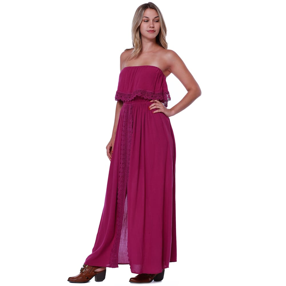 TAYLOR & SAGE Juniors' Flounce Top Strapless Maxi Dress - WAV-WANDERING VIOLET