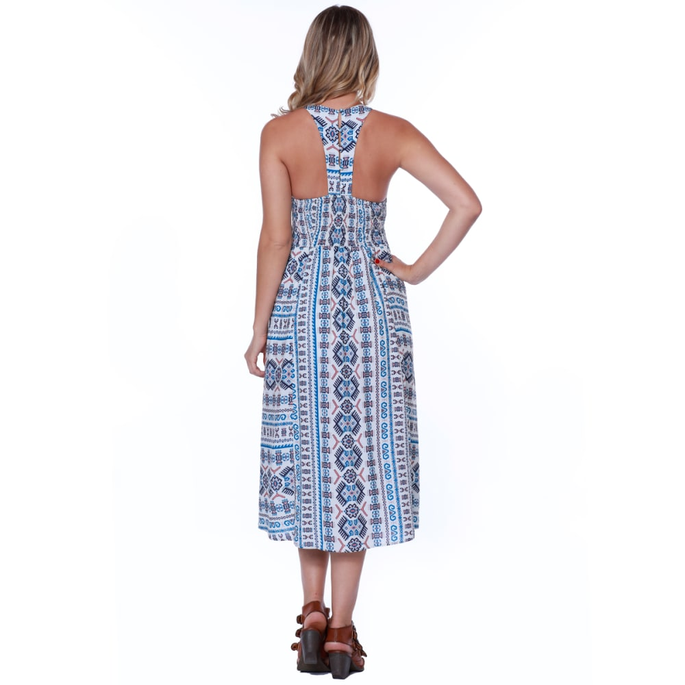 TAYLOR & SAGE Juniors' Printed Embroidered Maxi Dress - WHC-WHITE CLIFFS
