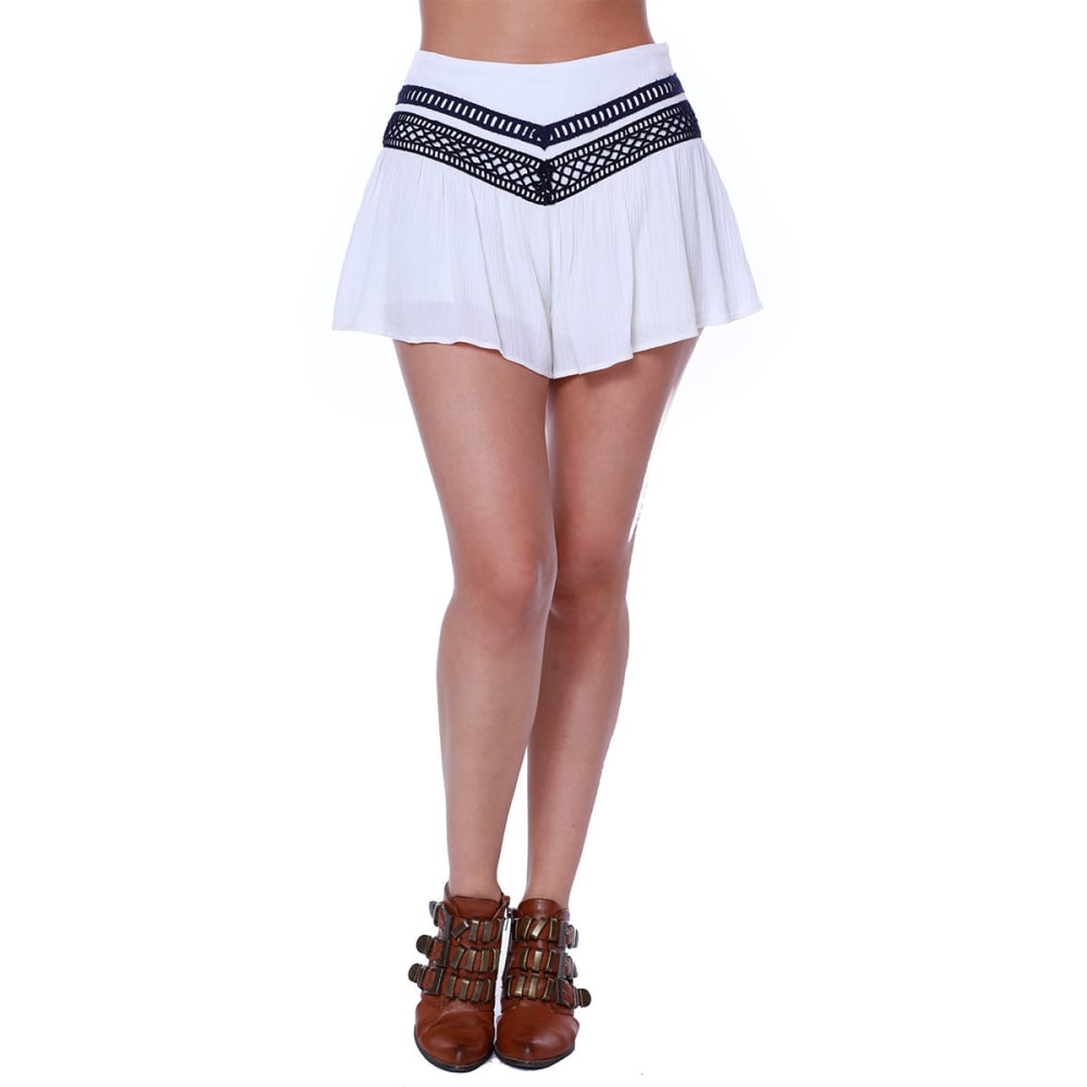 TAYLOR & SAGE Juniors' Embroidered Soft Shorts - WHC-WHITE CLIFFS