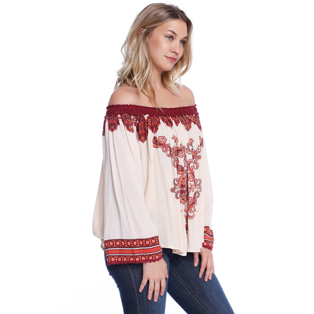 TAYLOR & SAGE Juniors' Floral Off The Shoulder Woven Top - PEH-PEACH HAZE