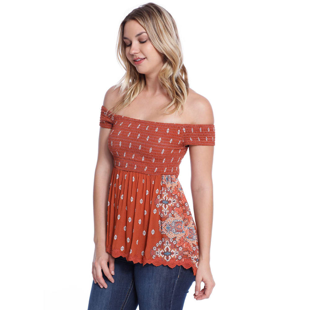 TAYLOR & SAGE Juniors' Off The Shoulder Babydoll Top - CED-CEDAR