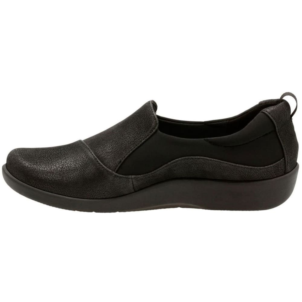 CLARKS Women's Sillian Paz Casual Slip-On Shoes, Black Synthetic - BLACK