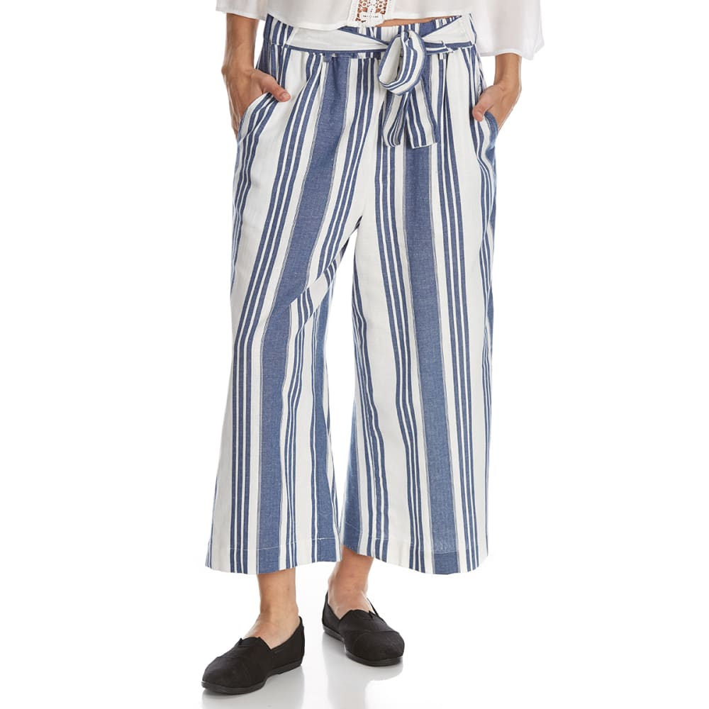 CRIMSON IN GRACE Women's Striped Tied Cropped Straight-Leg Palazzo Pants - NNY-NATURAL NAVY STR