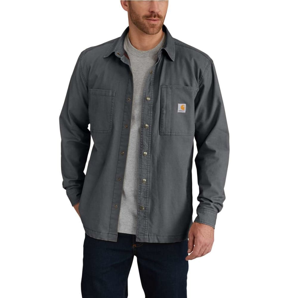 Carhartt Men's Rugged Flex(R) Rigby Fleece-Lined Shirt Jacket - Black, M