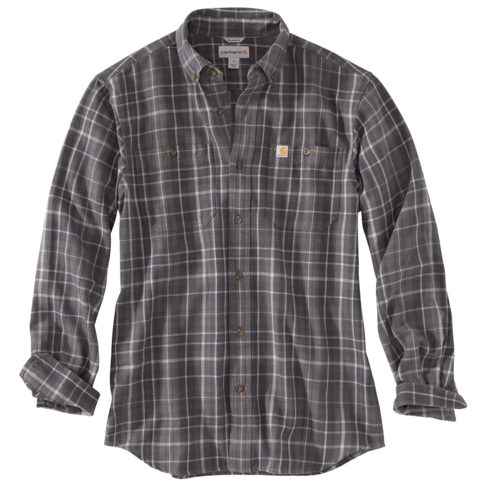 CARHARTT Men's Trumbull Plaid Flannel Long-Sleeve Shirt - 039 GRAVEL