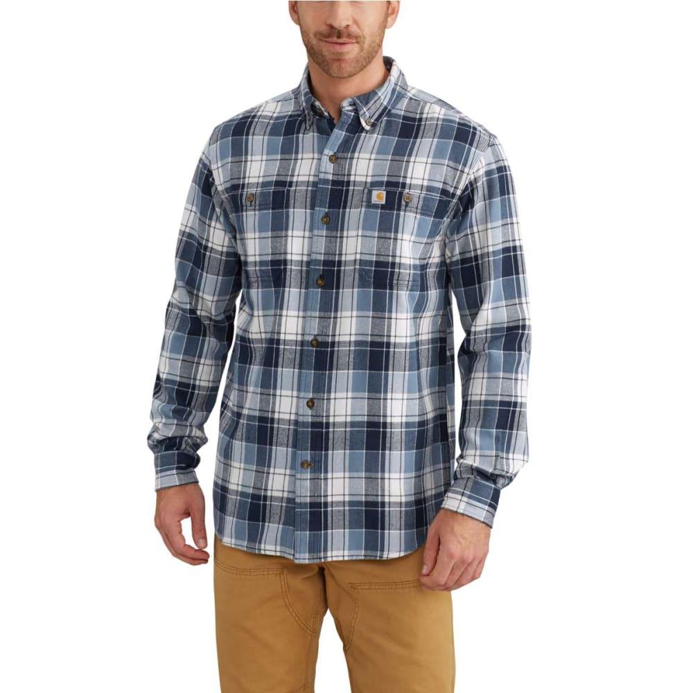 CARHARTT Men's Trumbull Plaid Flannel Long-Sleeve Shirt - 437 STEEL BLUE