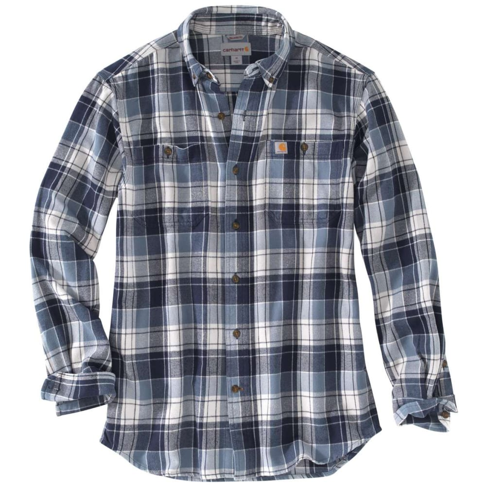 CARHARTT Men's Trumbull Plaid Flannel Long-Sleeve Shirt - 437 STEEL BLUE