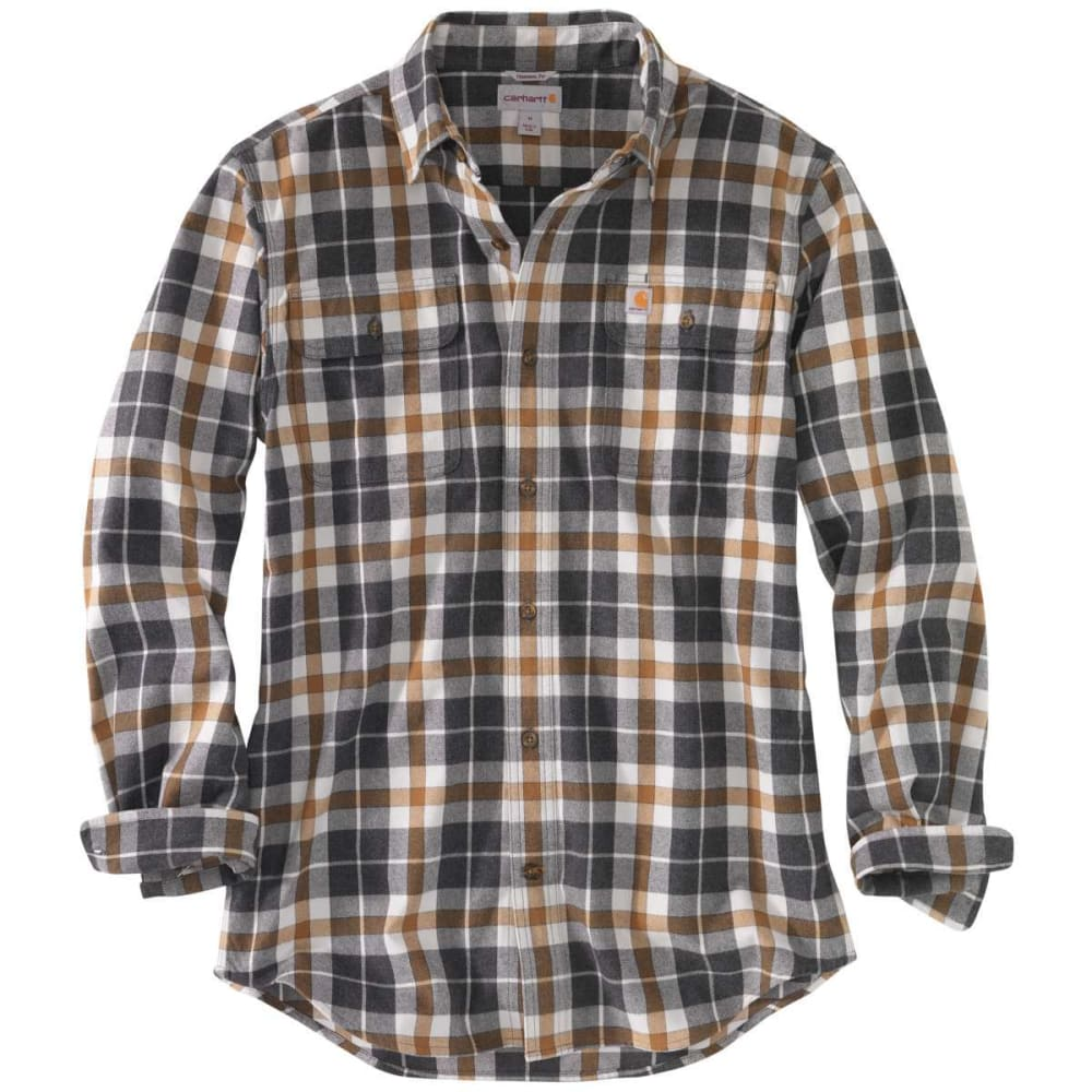 CARHARTT Men's Hubbard Plaid Flannel Shirt - 066 ASPHALT
