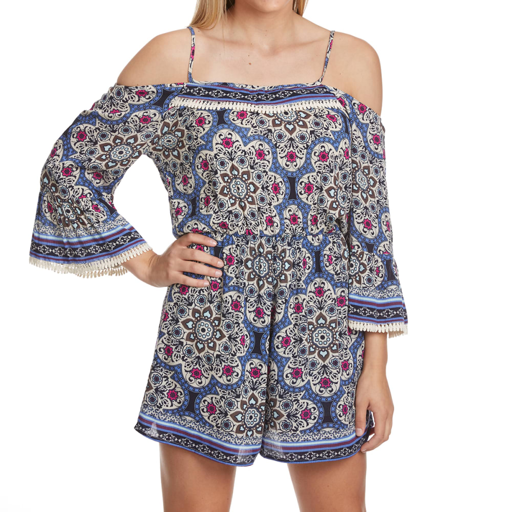 CRIMSON IN GRACE Women's Printed Off-Shoulder Romper - RCI-RICH INDIGO