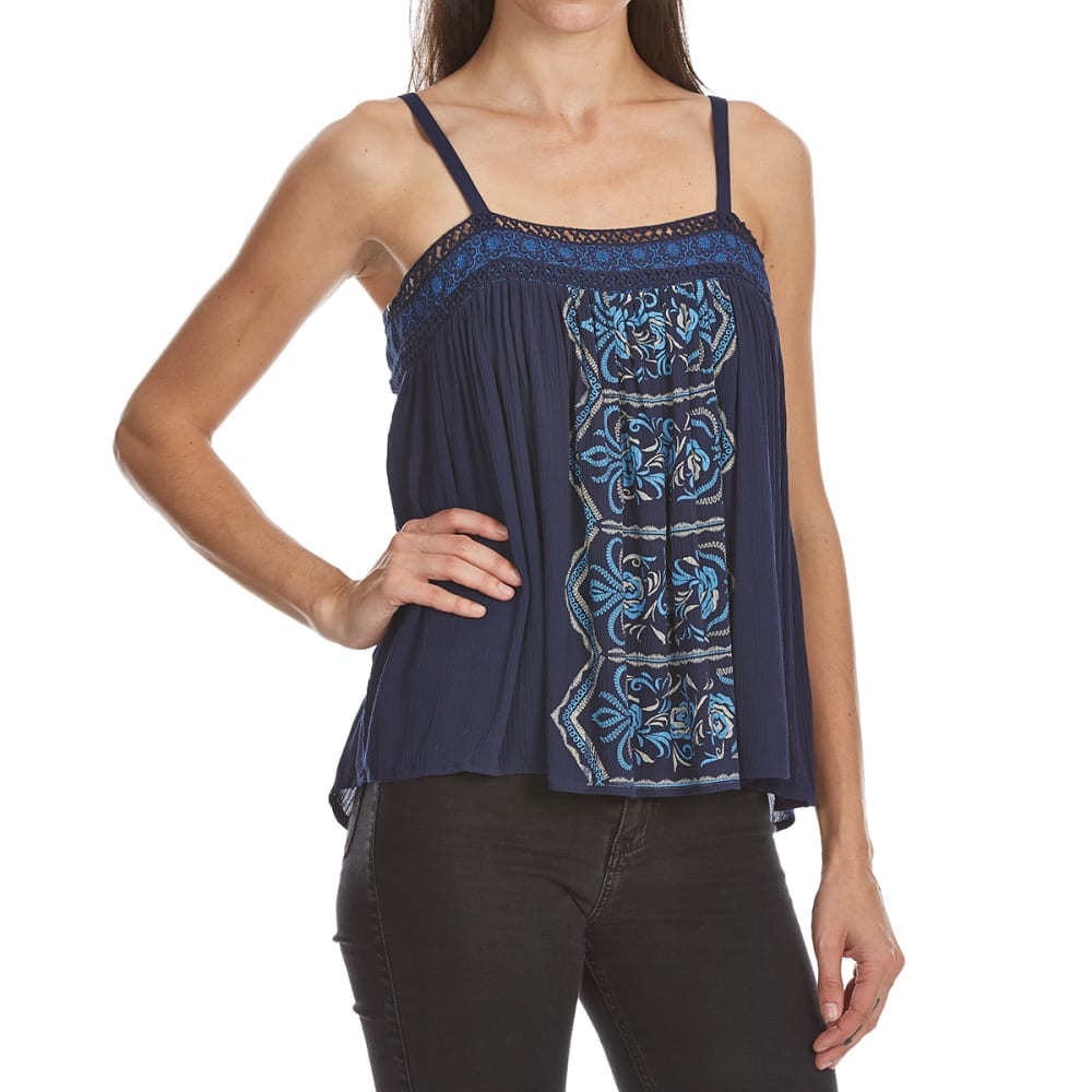 Crimson In Grace Women's Graphic Front Swing Cami Tank - Blue, S