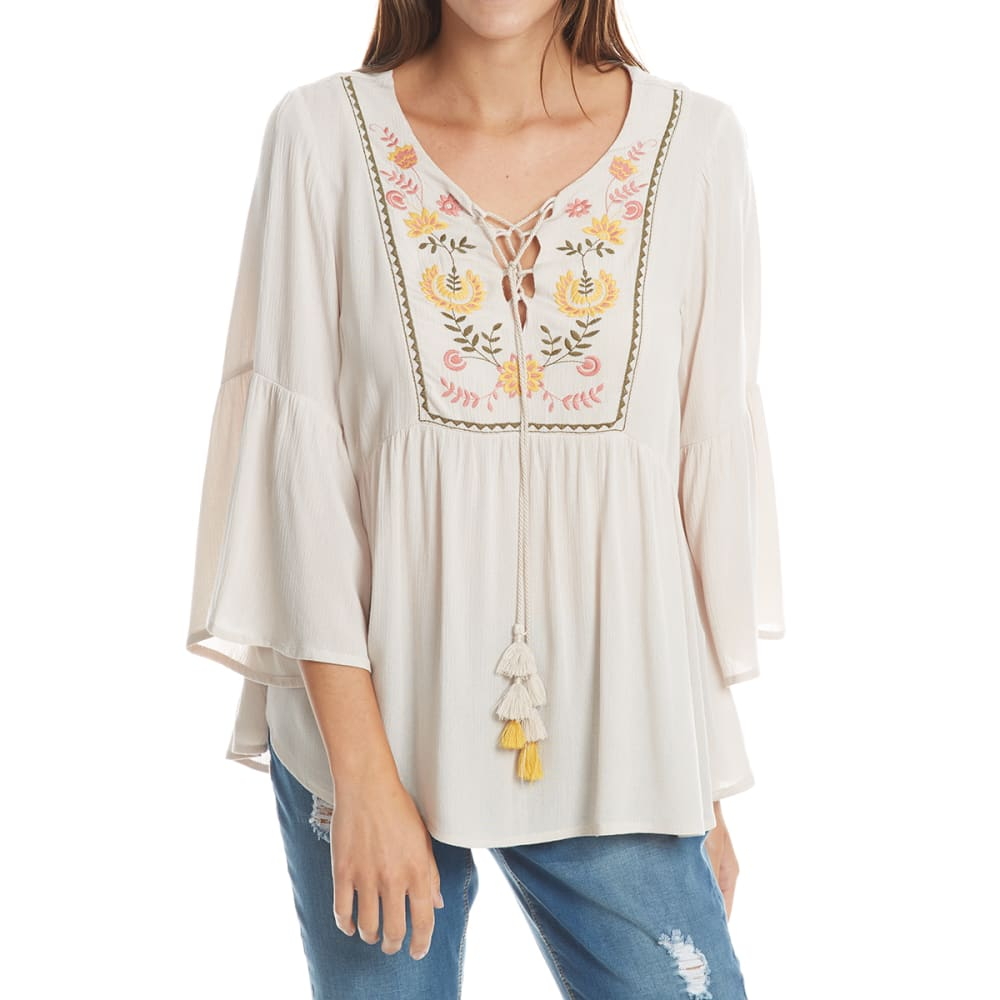 Crimson In Grace Women's Embroidered Peasant Top