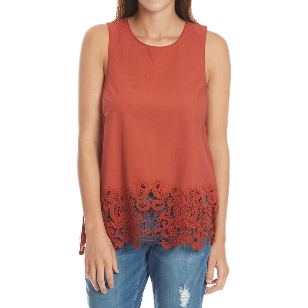 Crimson In Grace Women's Crochet Trim Sleeveless Top - Red, S