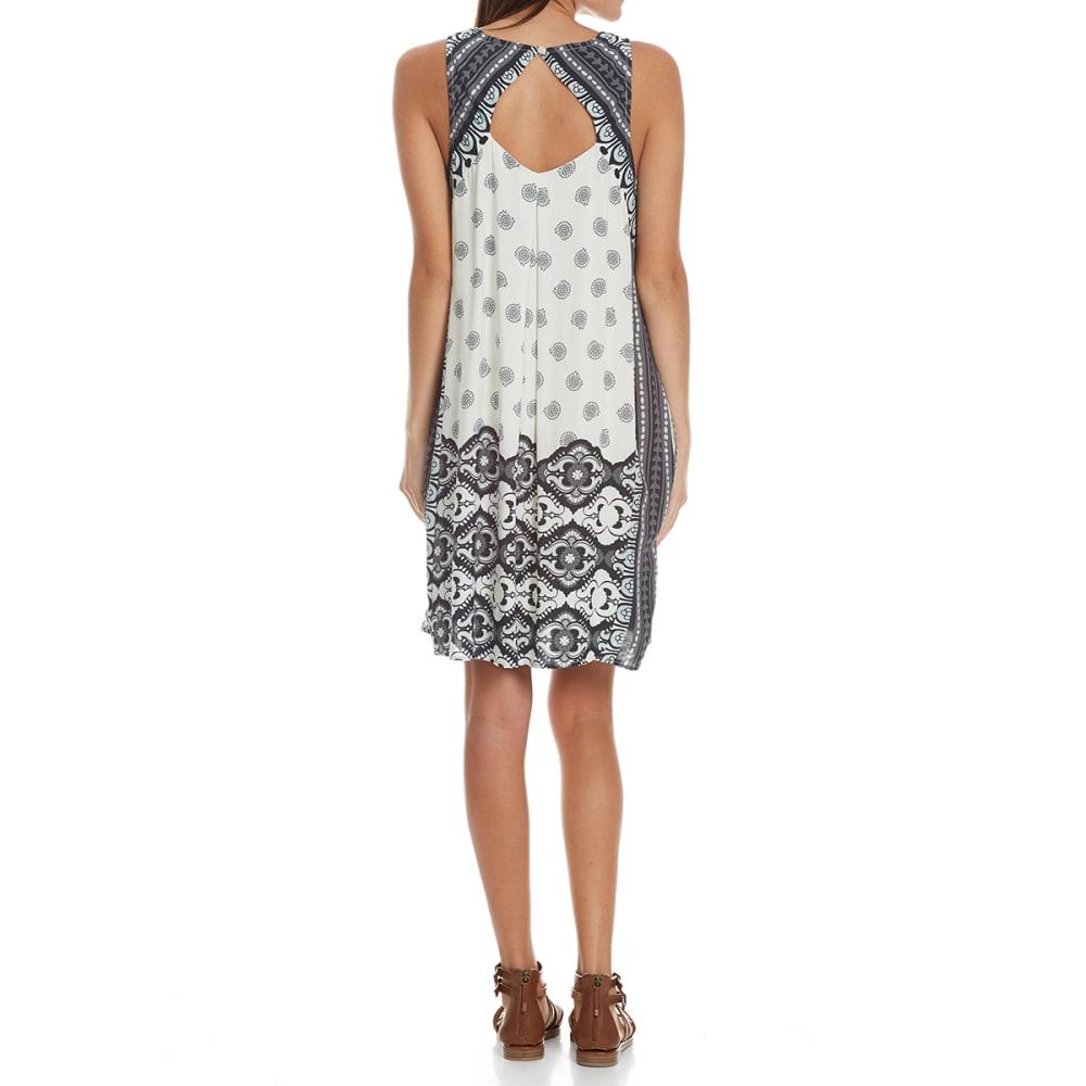 CRIMSON IN GRACE Women's Engineered Print Keyhole Back Dress - MSL-MUSLIN