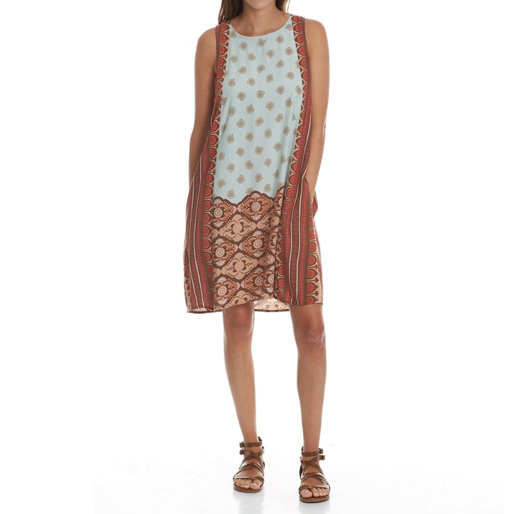 CRIMSON IN GRACE Women's Engineered Print Keyhole Back Dress - SEA-SEAFOAM