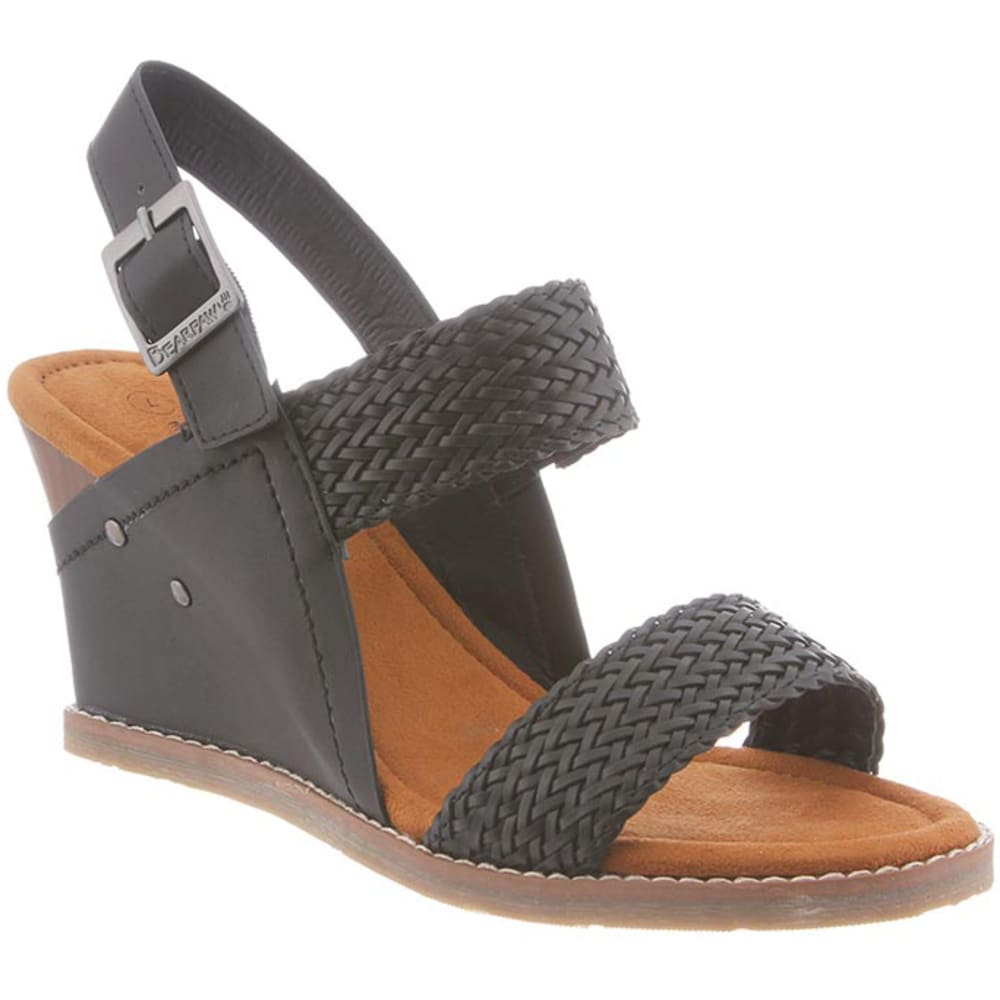 BEARPAW Women's Racquel Wedge Sandals - BLACK II