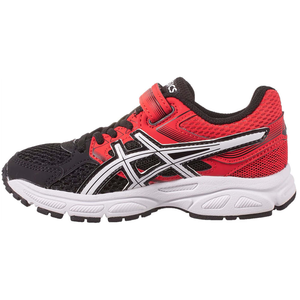 ASICS Boys' PRE-Contend 3 PS Running Shoes, Black/White/Vermillion - BLACK