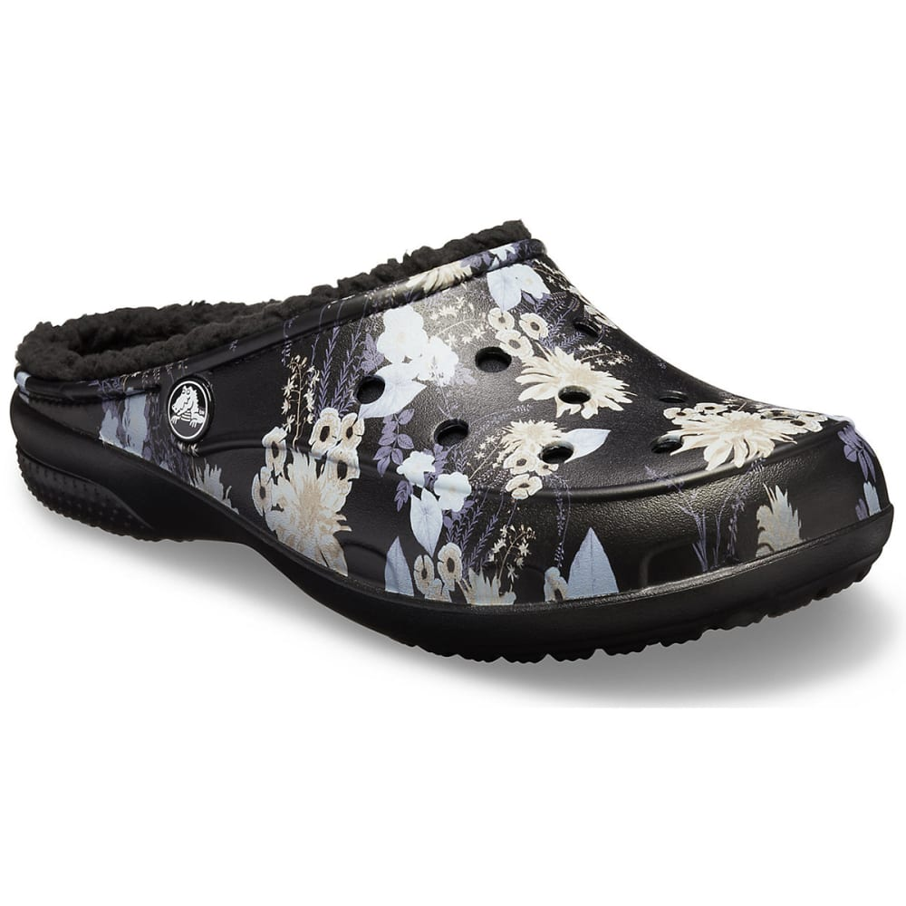 CROCS Women's Freesail Graphic Fuzz Lined Clogs - BLACK/FLORAL 0CV