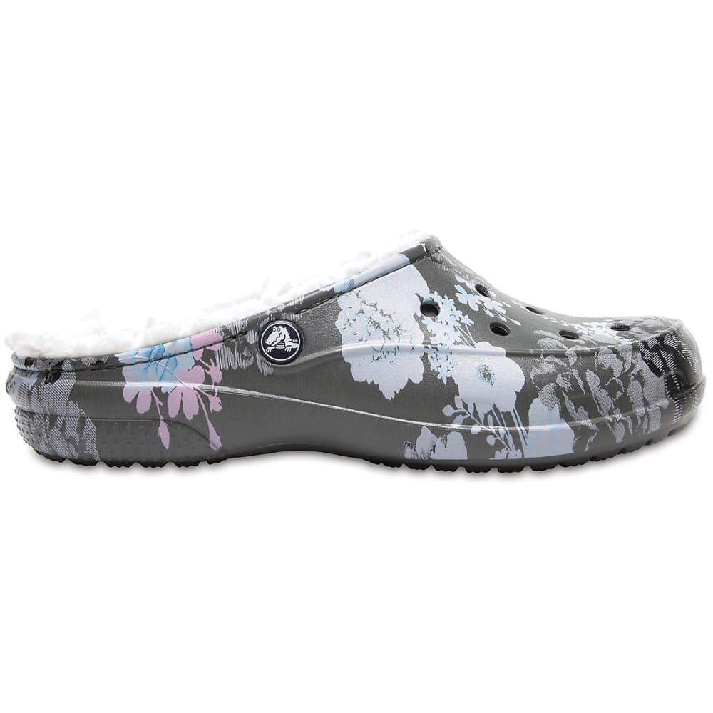 CROCS Women's Freesail Graphic Fuzz Lined Clogs, Floral/Slate Grey - FLORA/GREY