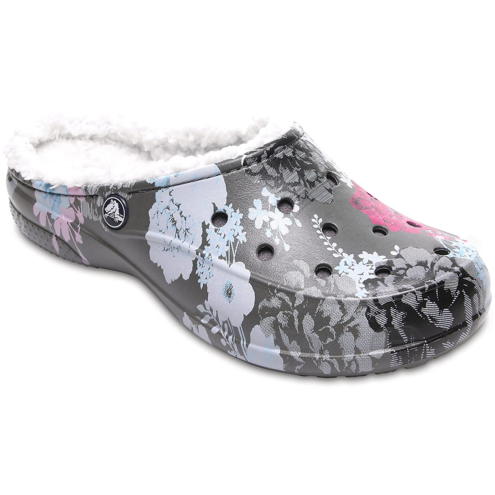 Crocs Women's Freesail Graphic Fuzz Lined Clogs, Floral/slate Grey