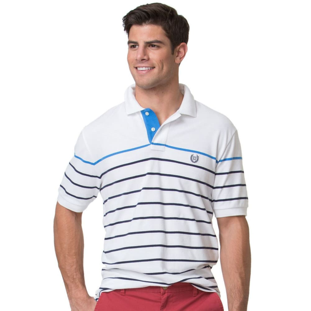 CHAPS Men's Striped Stretch Pique Short-Sleeve Polo Shirt - WHITE-002