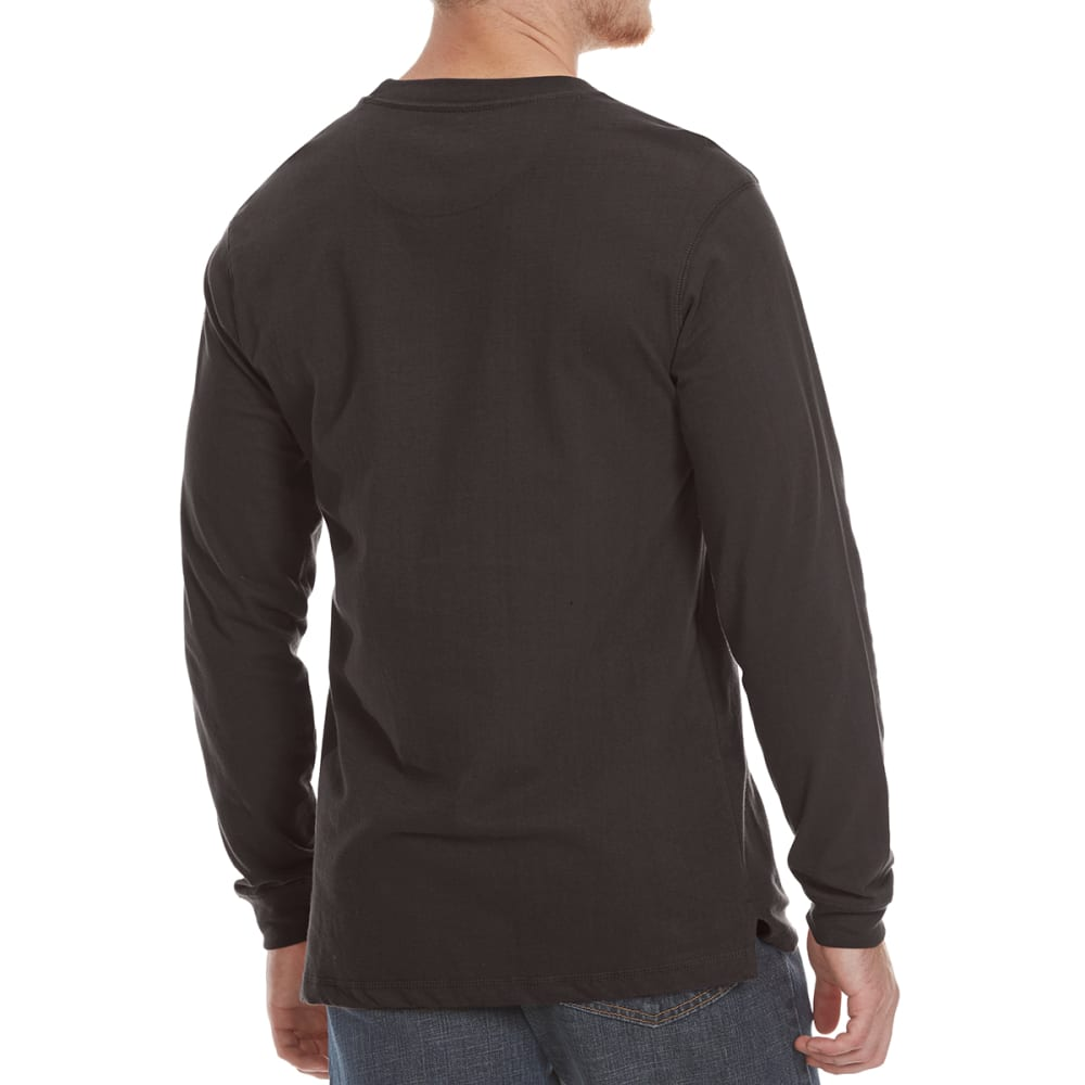 RUGGED TRAILS Men's Sueded Crewneck Long-Sleeve Tee - BLACK