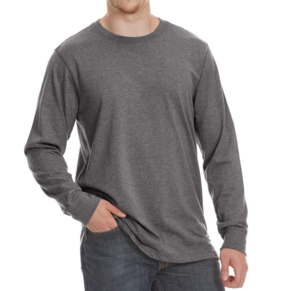 RUGGED TRAILS Men's Sueded Crewneck Long-Sleeve Tee - CHR HTR