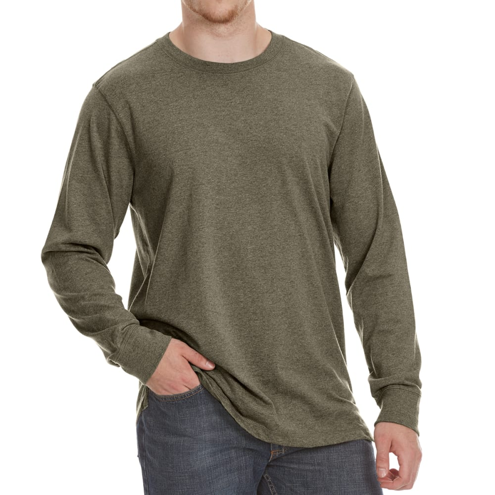 RUGGED TRAILS Men's Sueded Crewneck Long-Sleeve Tee - DK GRN HTR