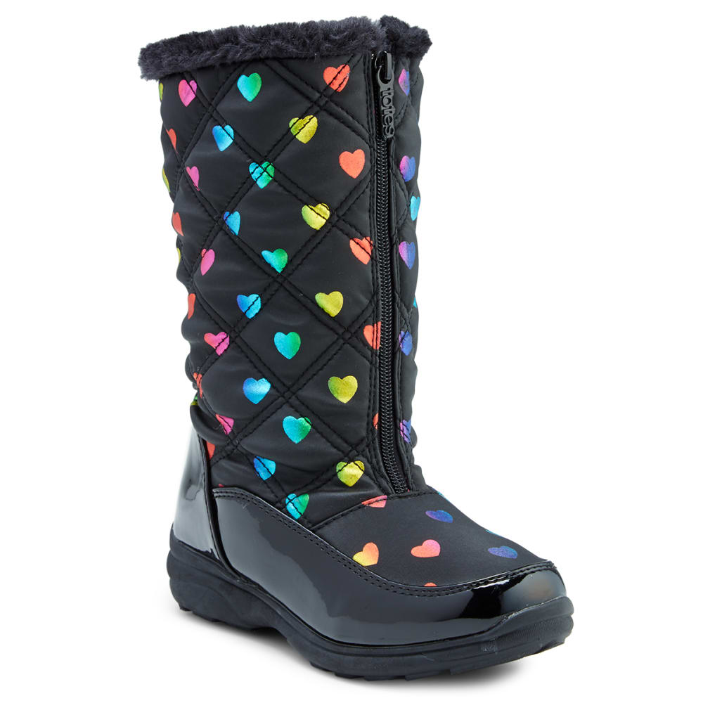 TOTES Big Girls' Rainbow with Hearts Waterproof Insulated Storm Boots, Black - BLACK