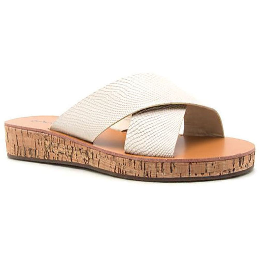 QUPID Women's Flip-15 Cross-Band Slide Sandals, Stone - STONE
