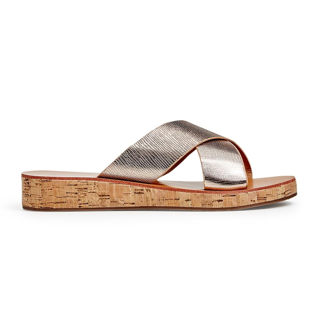 QUPID Women's Flip-15 Cross-Band Slide Sandals, Rose Gold - ROSE GOLD