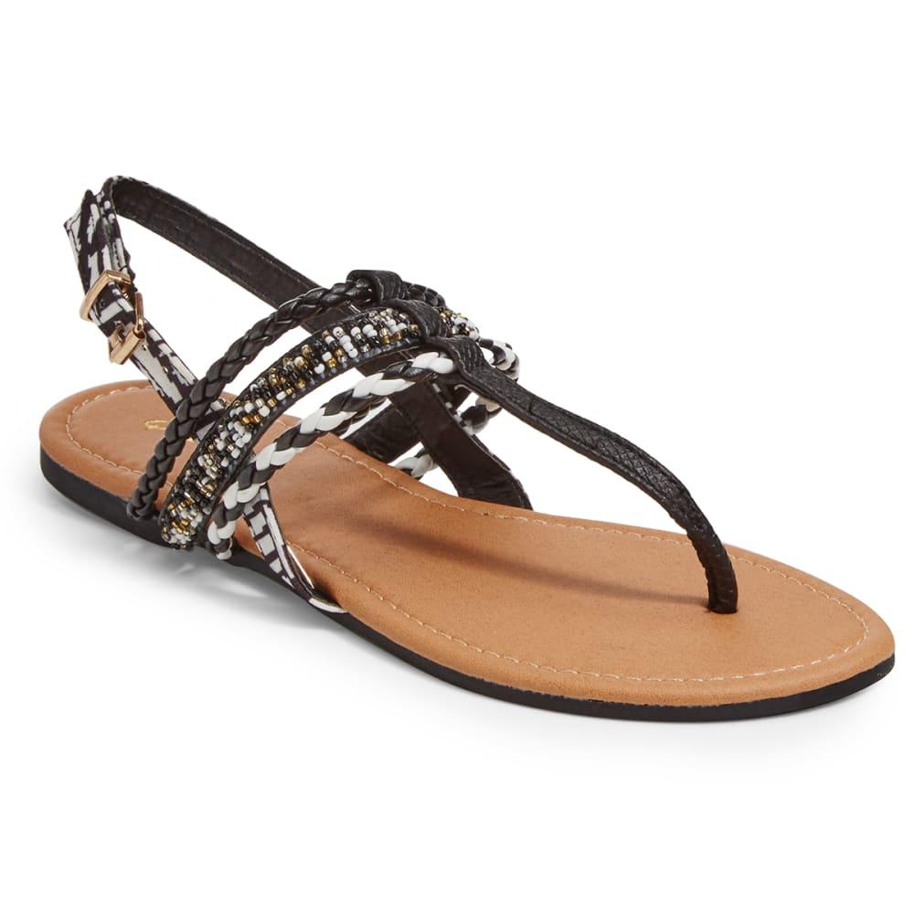 QUPID Women's Archer-187 T-Strap Sandals, Black - BLACK