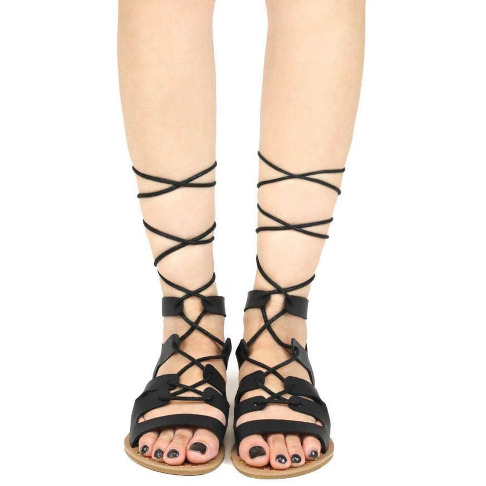 QUPID Women's Athena-914 Lace-Up Gladiator Sandals, Black - BLACK