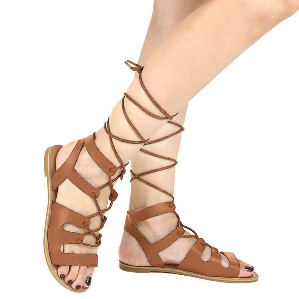 QUPID Women's Athena-914 Lace-Up Gladiator Sandals, Cognac - COGNAC