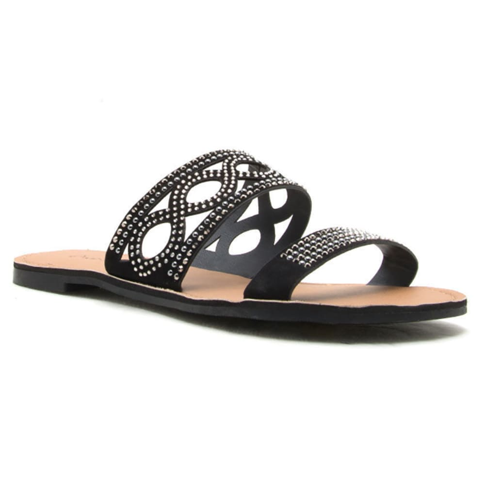 QUPID Women's Athena-1086A Slide Sandals, Black - BLACK