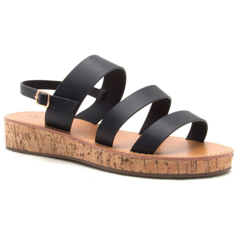 QUPID Women's Flip-14 Flatform Sandals, Black - BLACK