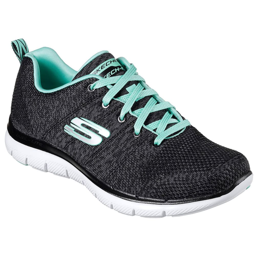 SKECHERS Women's Flex Appeal 2.0 - High Energy Sneakers - BLK/AQUA-BKAQ