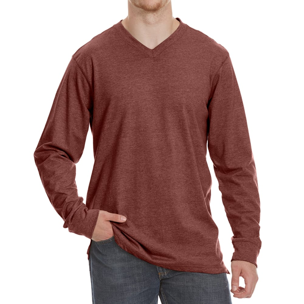 RUGGED TRAILS Men's Sueded V-Neck Long-Sleeve Tee - PORT HTR