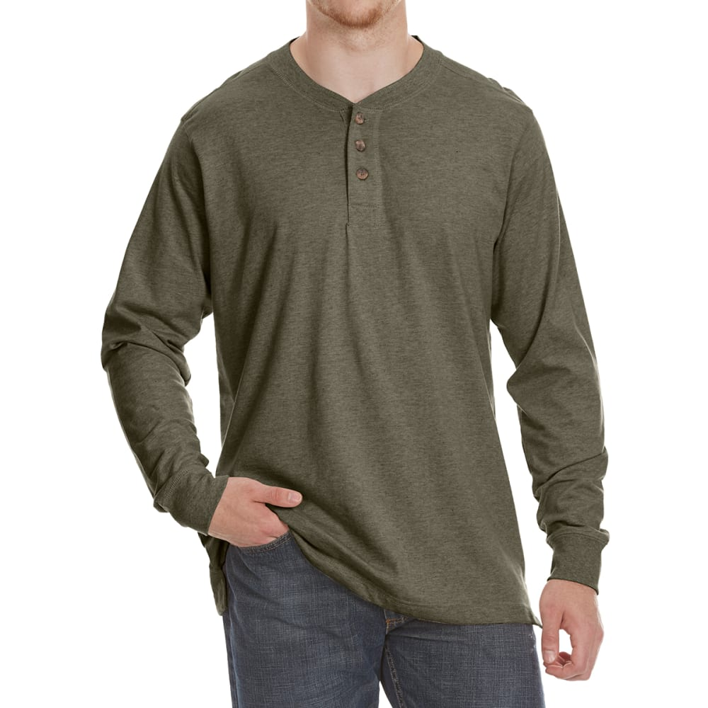 RUGGED TRAILS Men's Sueded Henley Long-Sleeve Tee - DK GRN HTR
