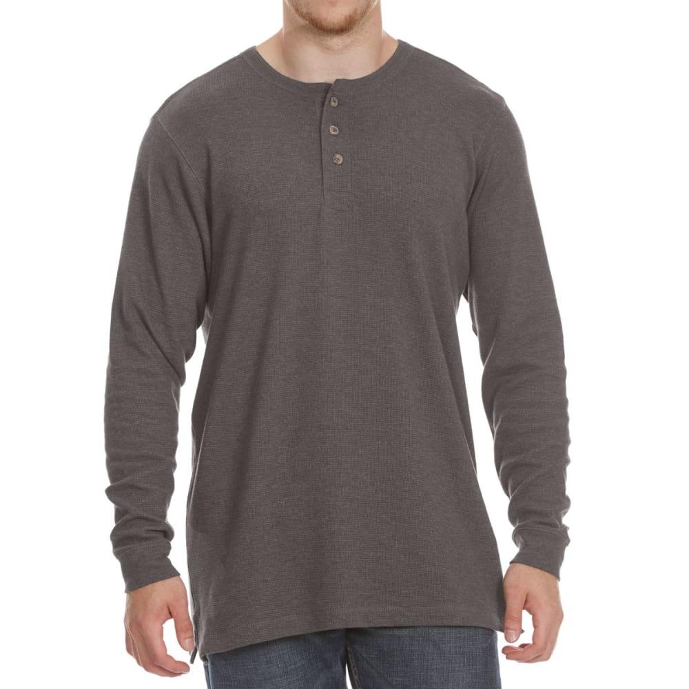 RUGGED TRAILS Men's Thermal Henley Long-Sleeve Shirt - CHAR HTR