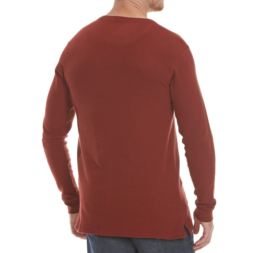 RUGGED TRAILS Men's Thermal Henley Long-Sleeve Shirt - FIRED BRICK RED