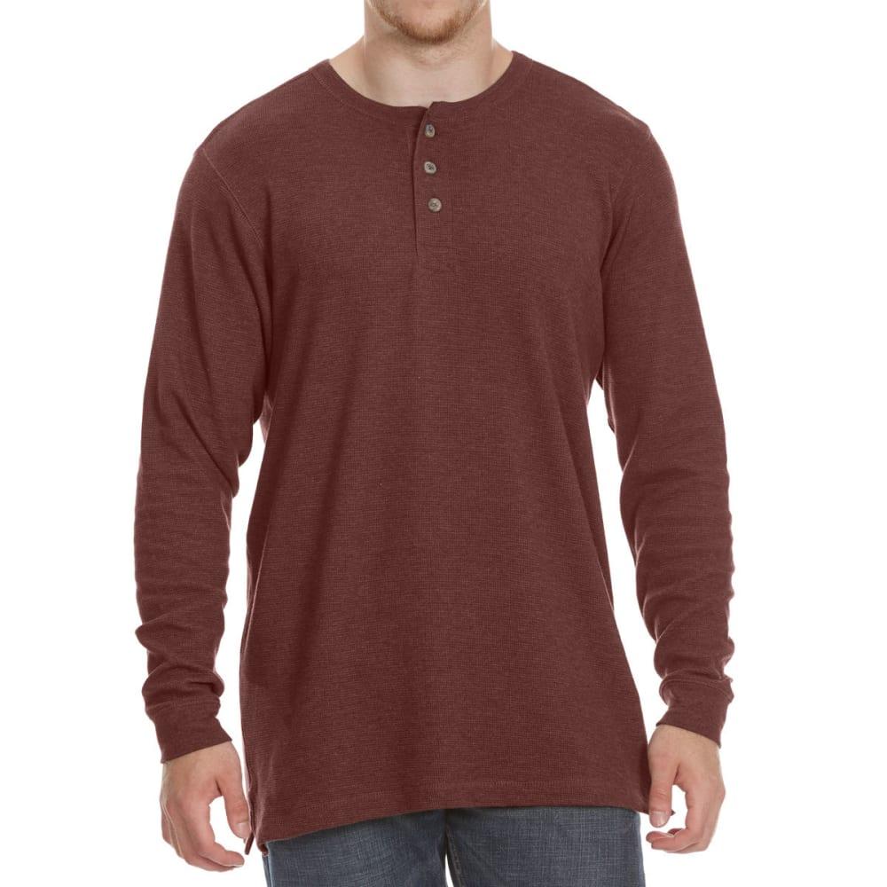 RUGGED TRAILS Men's Thermal Henley Long-Sleeve Shirt - PORT HTR