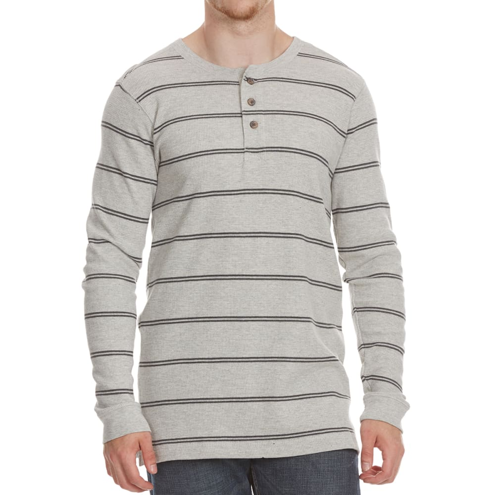 RUGGED TRAILS Men's Thermal Striped Henley Long-Sleeve Shirt - PEBBLE HTR/CHAR